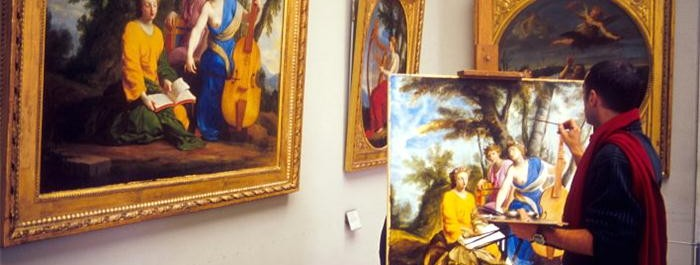 Art student copies painting at the Louvre.